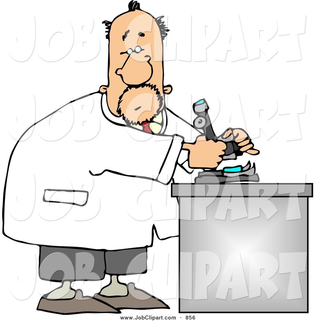 Job Clip Art of a Caucasian Male Biology Scientist Using a.