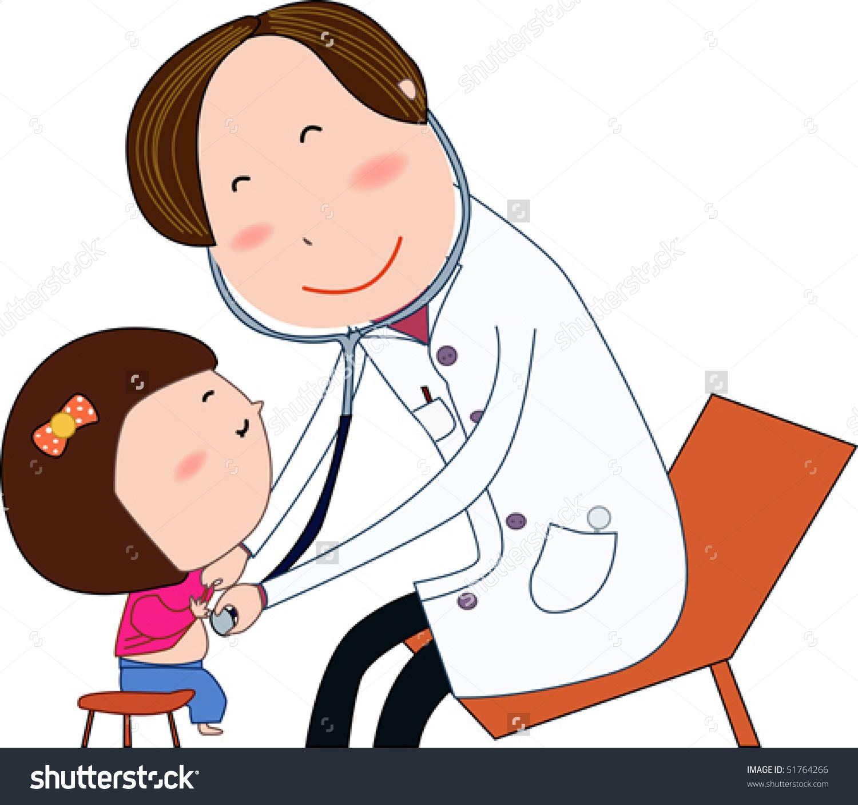 Doctor examining patient clipart.