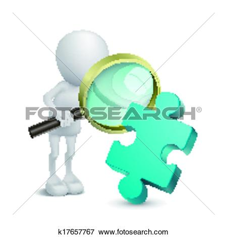 Clip Art of 3d person with magnify examines puzzle k17657767.