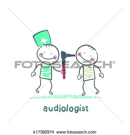 Clipart of otolaryngologist examines the ear of the patient.