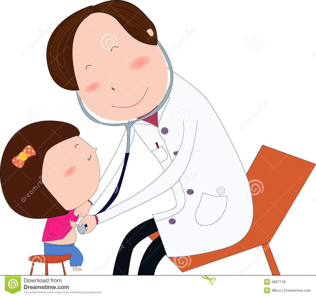Friendly Doctor Examine Girl Royalty Free Stock Images.