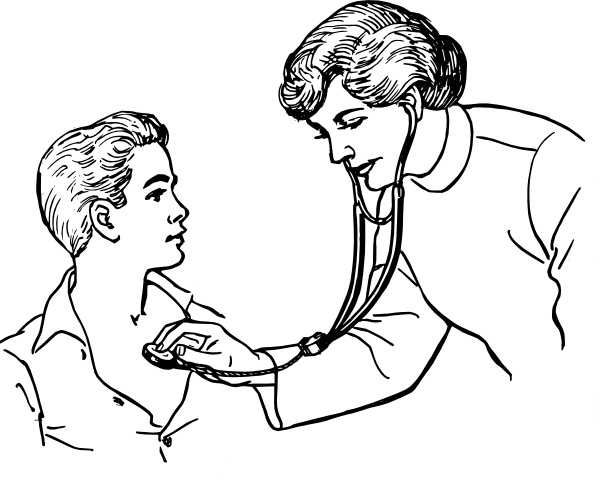 Doctor Examining A Patient clip art Free vector in Open office.
