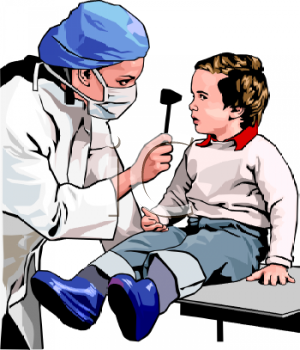 Royalty Free Clip Art Image: Realistic Woman Doctor Examining a.