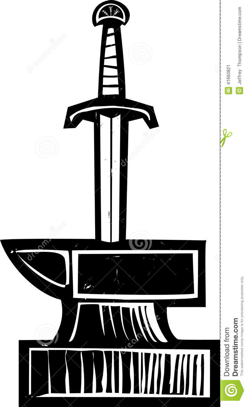 Sword In The Stone Stock Vector.