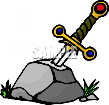 Cartoon of Excalibur Stuck in the Stone.