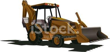 Cargadora Excavadora Bulldozer vectores en stock.