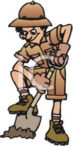 Clipart man digging.