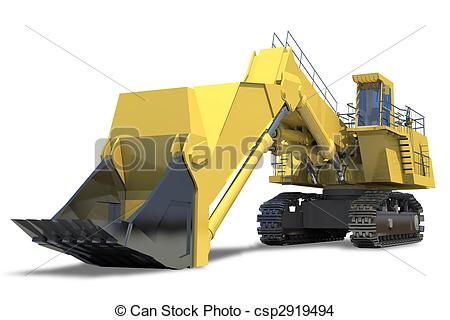 Drawing of Heavy equipment. Excavator with bucket on a white.