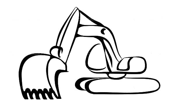 Cute excavator clipart black and white.