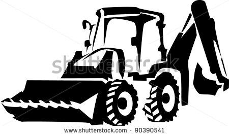 Excavator Black And White Clipart.