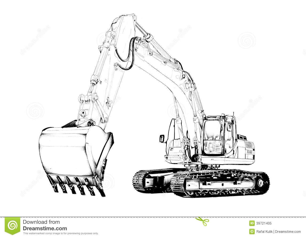 Excavator Illustration Isolated Art Drawing Stock Illustration.