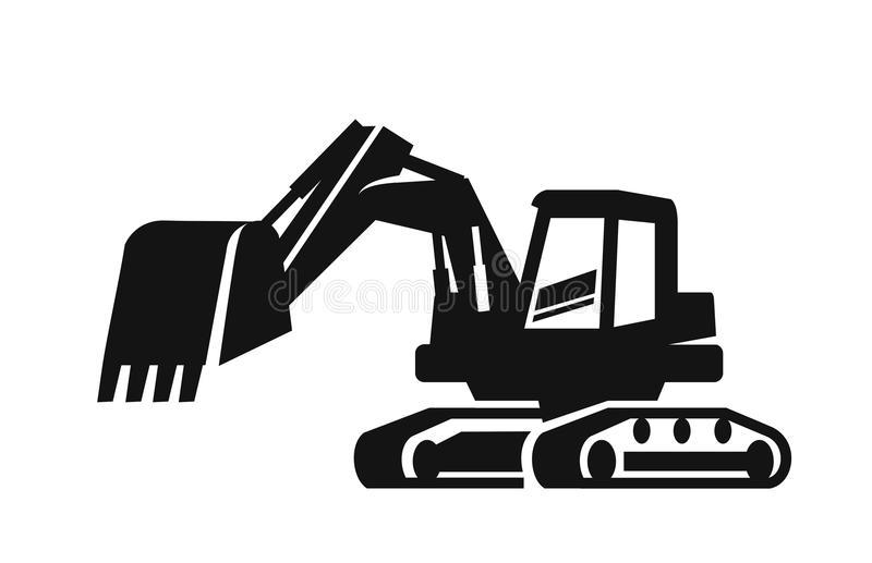 Black Excavator Stock Illustrations.