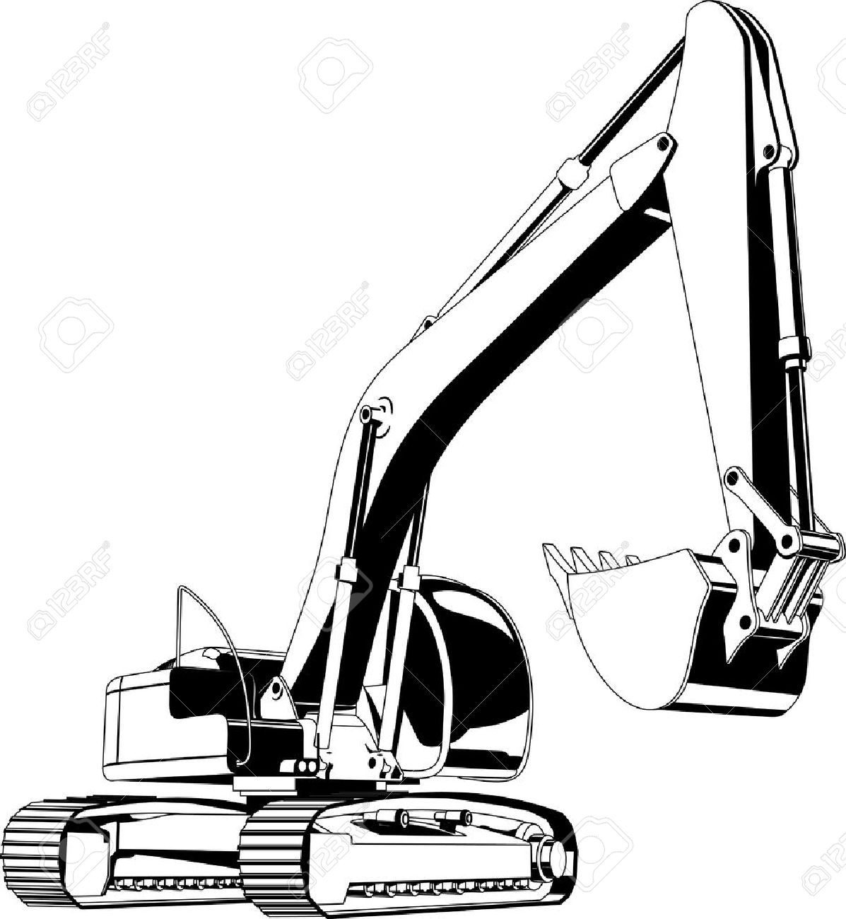 Excavator clipart black and white 6 » Clipart Station.