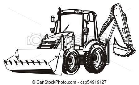 black and white excavator.