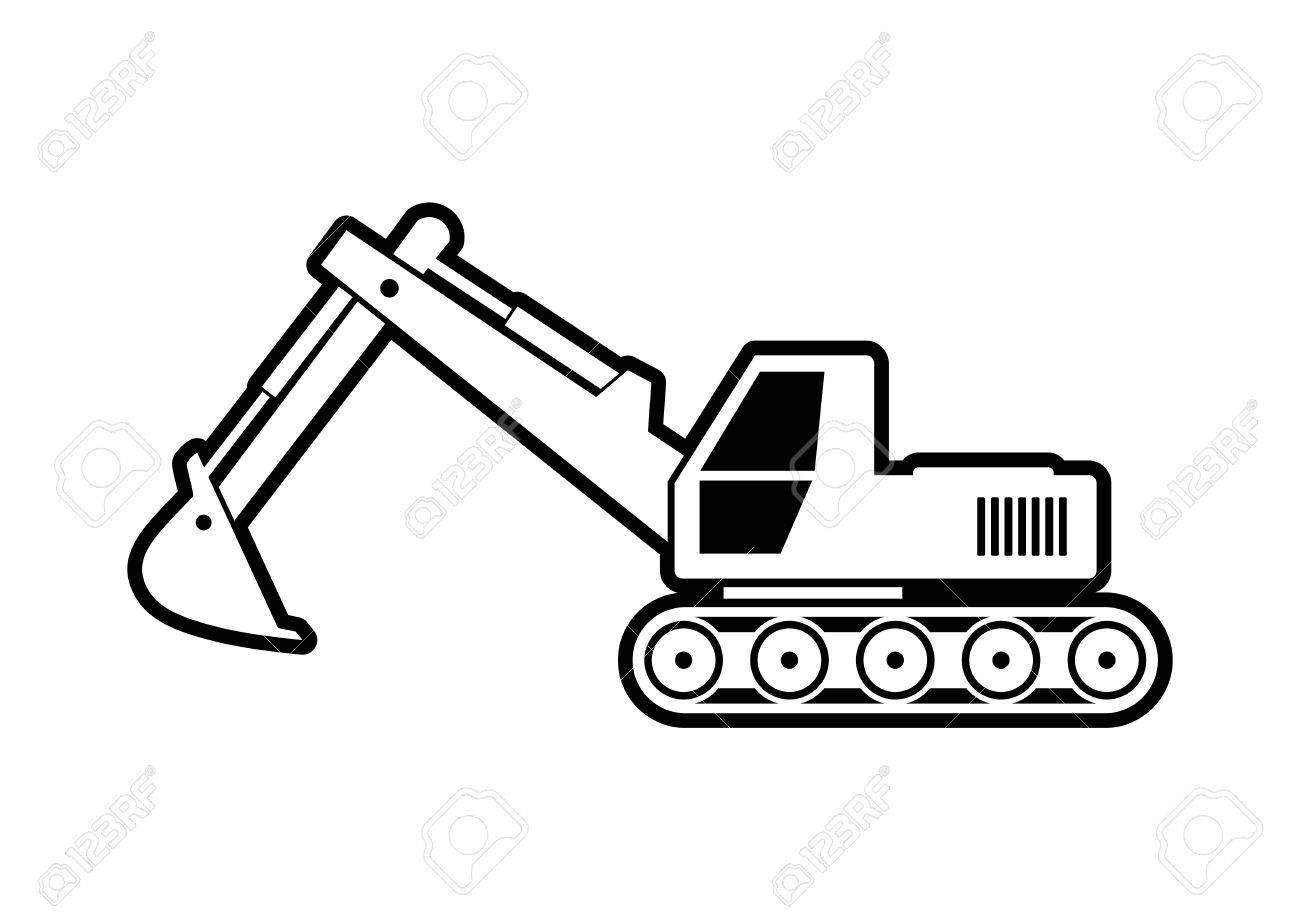Excavator vector icon on white background.