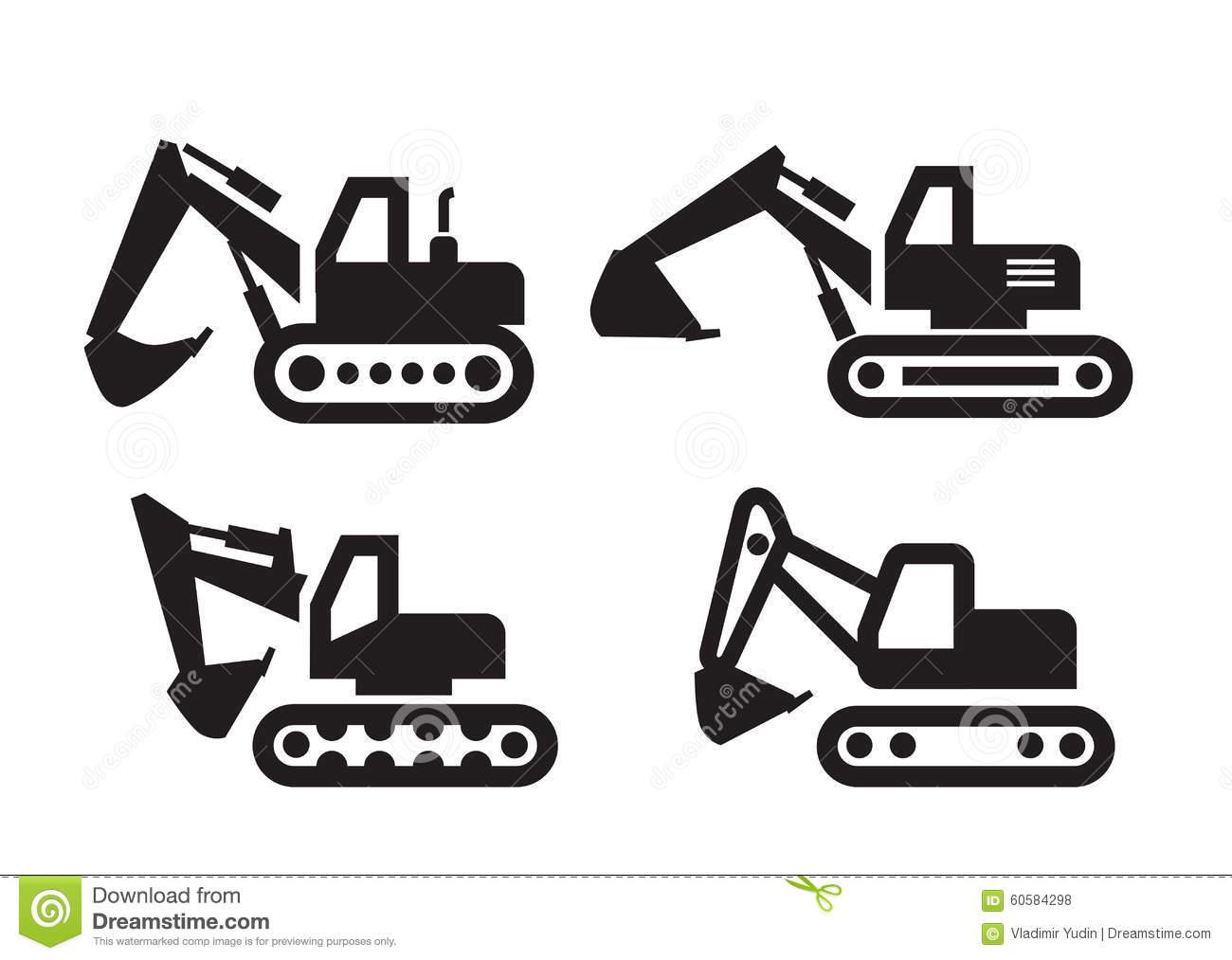 Excavator Icon Stock Vector.