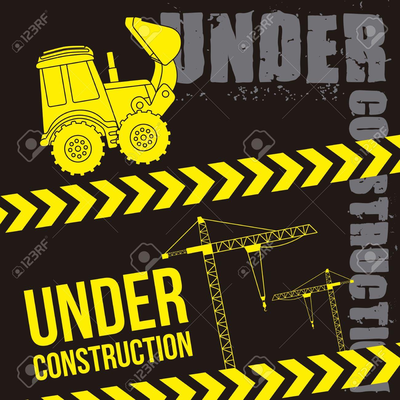 Excavator Cartoon Over Black Background. Vector Illustration.
