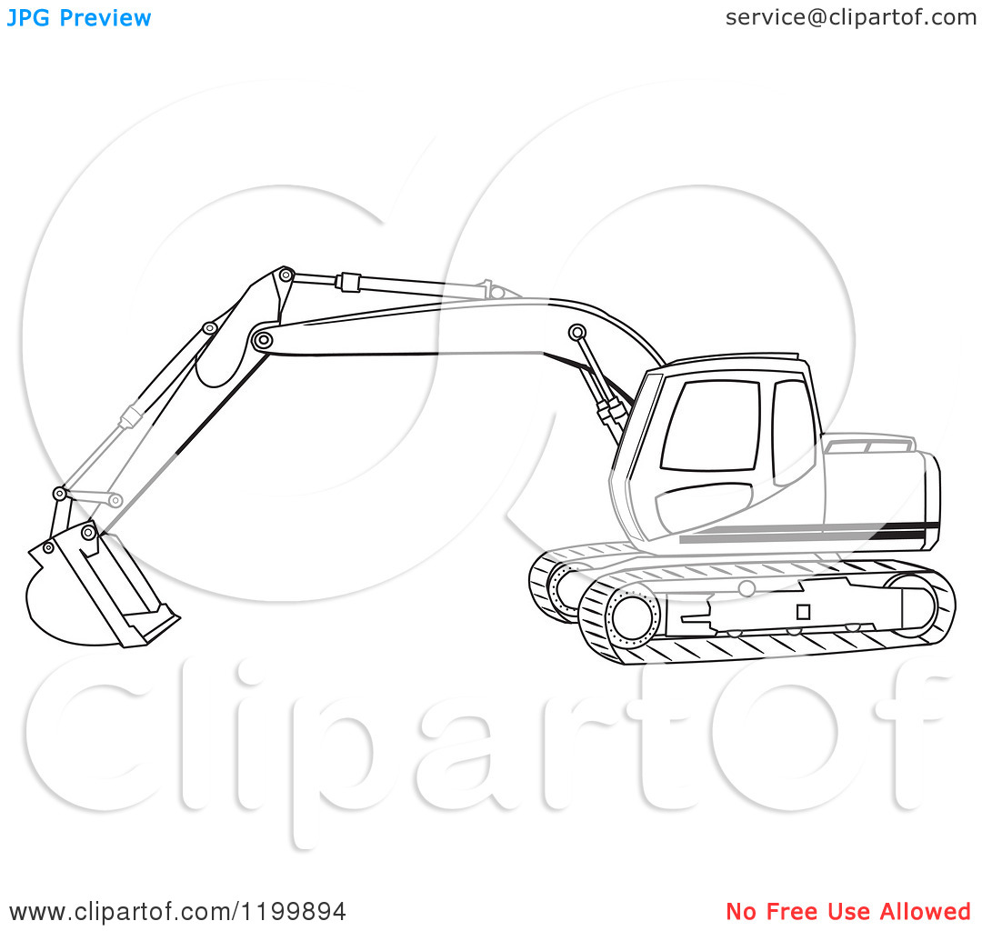 Cartoon of an Outlined Trackhoe Excavator.