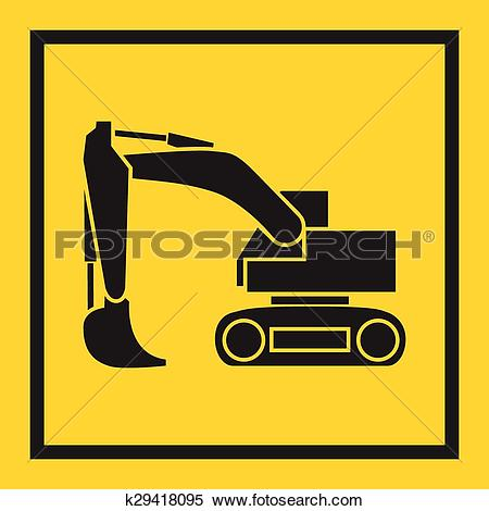Clipart of Tractor, excavator, bulldozer, crawler, Wheeled and.