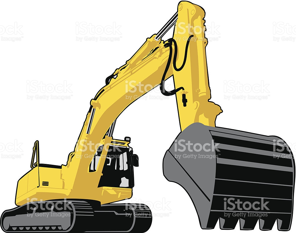 Large Yellow Excavator With Continuous Track Mobility stock vector.