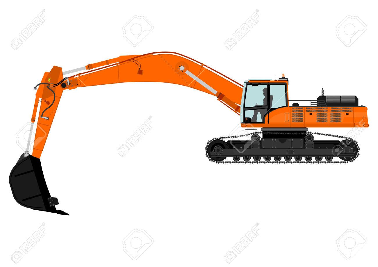 Cartoon Heavy Excavator On Tracks Vector Royalty Free Cliparts.