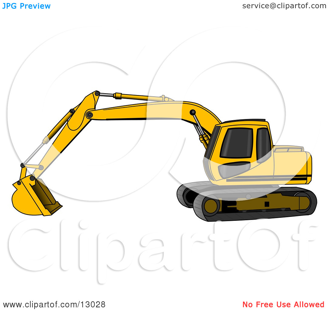 Yellow Trackhoe Excavator Clipart Illustration by Dennis Cox #13028.