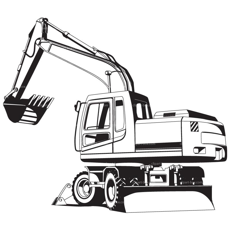 Excavator Black And White Clipart.