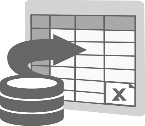 Import to Excel icon vector clip art.
