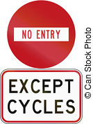 Clip Art of No cycling, bicycle forbidden sign on white.
