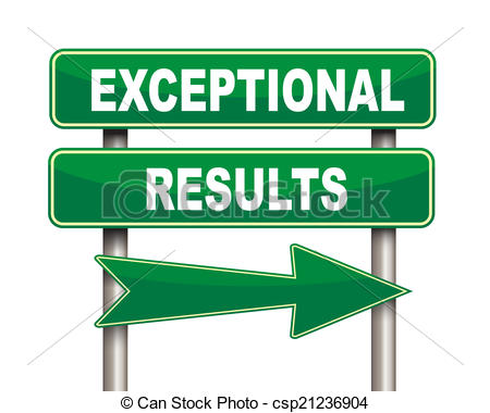 Stock Illustration of Exceptional results green road sign.