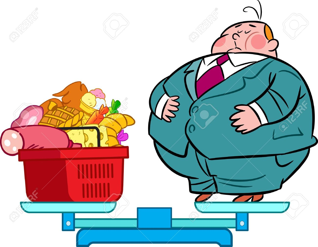 Free funny clipart of overweight people on scales.