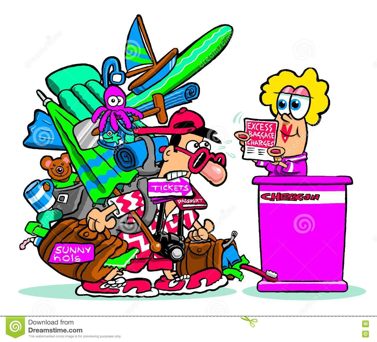 Cartoon Traveler With Excess Baggage Stock Photo.