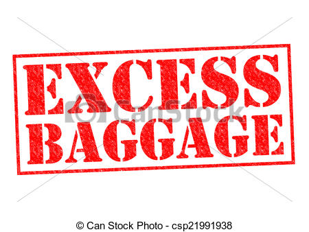 Drawings of EXCESS BAGGAGE red Rubber stamp over a white.