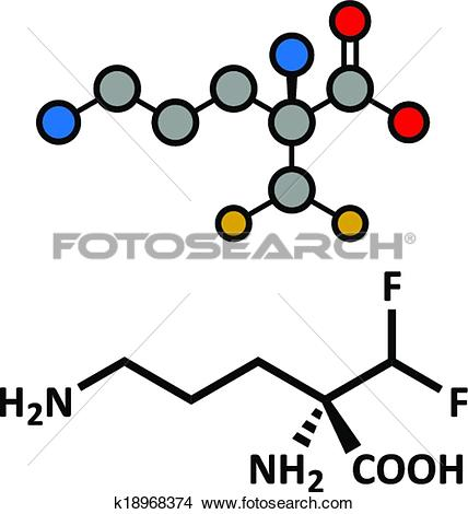 Clipart of Eflornithine drug molecule. Used to treat facial.