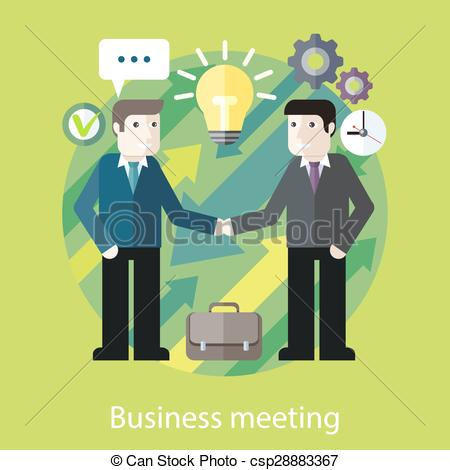 Clip Art Vector of Exchange of Ideas. Two Businessmen are Talking.