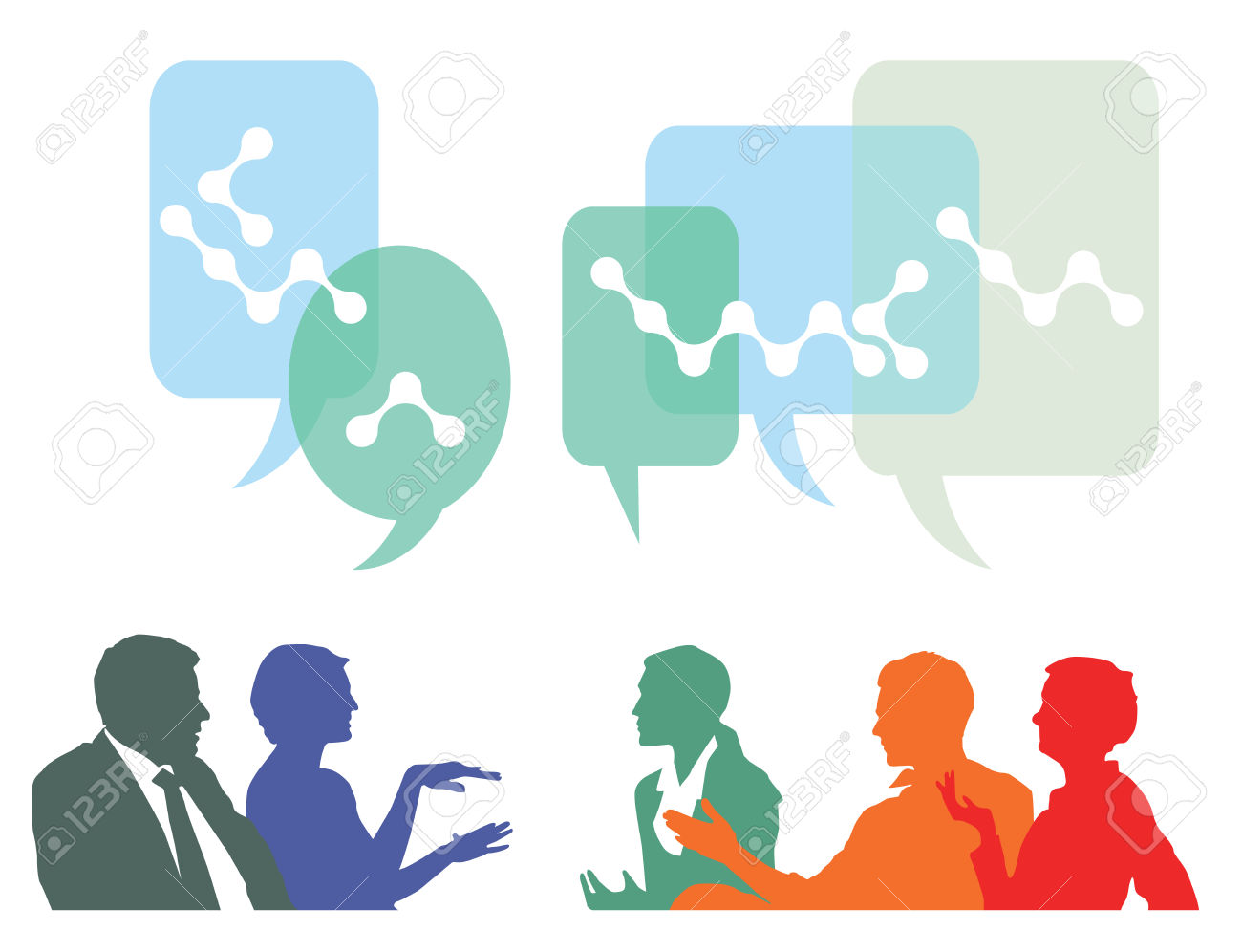 People Discuss And Exchange Ideas Royalty Free Cliparts, Vectors.