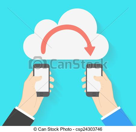 EPS Vector of Two businessmen exchange information via smartphones.