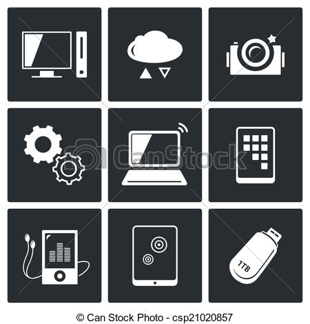 Clipart Vector of exchange of information technology icons set.