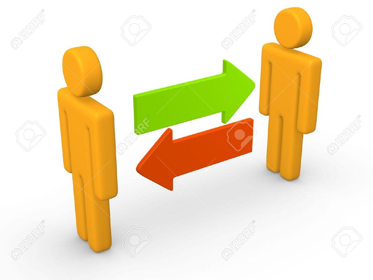 Exchange Between Two 3d Men 3d Rendering Stock Photo, Picture And.
