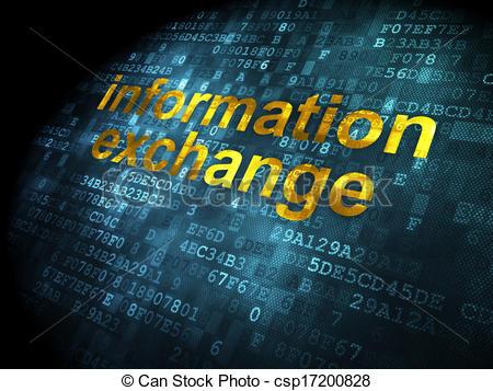 Clip Art of Information concept: Information Exchange on digital.