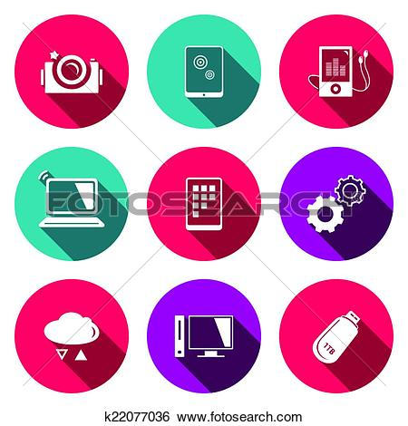 Clip Art of exchange of information technology flat icons set.