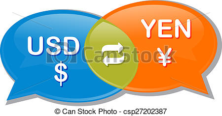 Stock Illustration of USD Yen Currency exchange rate conversation.