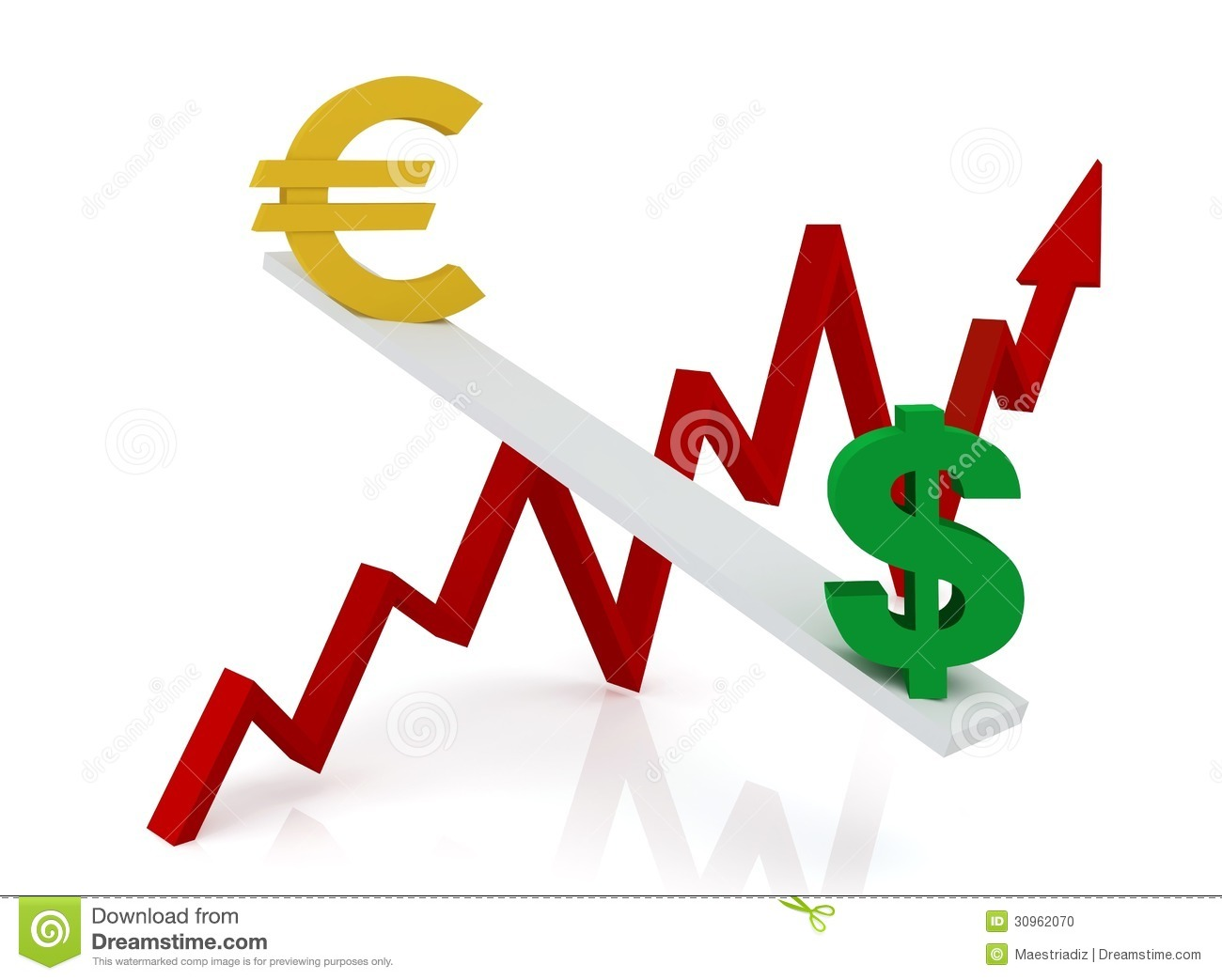 Graph Of Changes In Exchange Rates: Euro And Dollar Stock Photo.