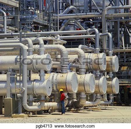 Stock Photo of Heat exchangers in oil refinery. Indonesia. pgb4713.