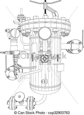 Clip Art Vector of Scetch of heat exchanger.
