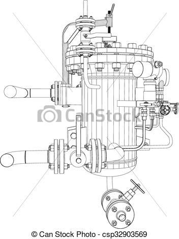 Clip Art Vector of Picture of heat exchanger.