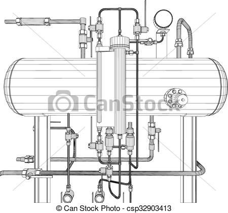 Vector Clip Art of Scetch of heat exchanger on white background.