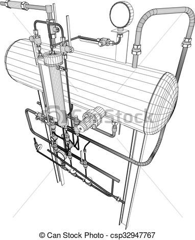 Clip Art Vector of Scetch of heat exchanger on white background.