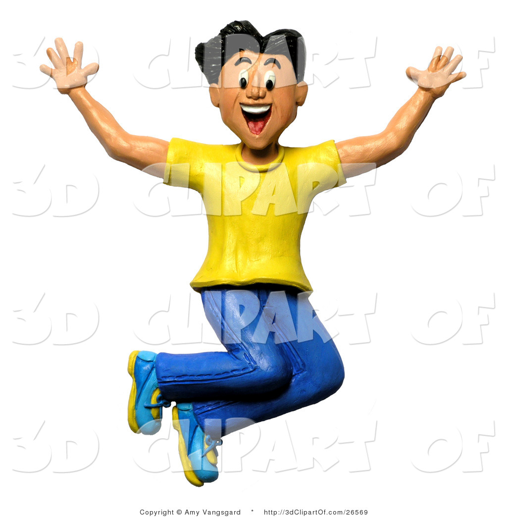 3d Clip Art of a 3d Happy and Energetic Man Jumping up and Smiling.