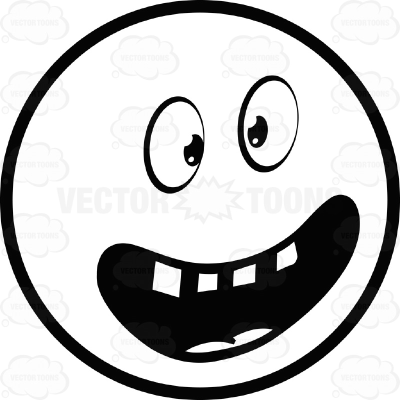 Ecstatic Large Eyed Black And White Smiley Face Emoticon With Wide.
